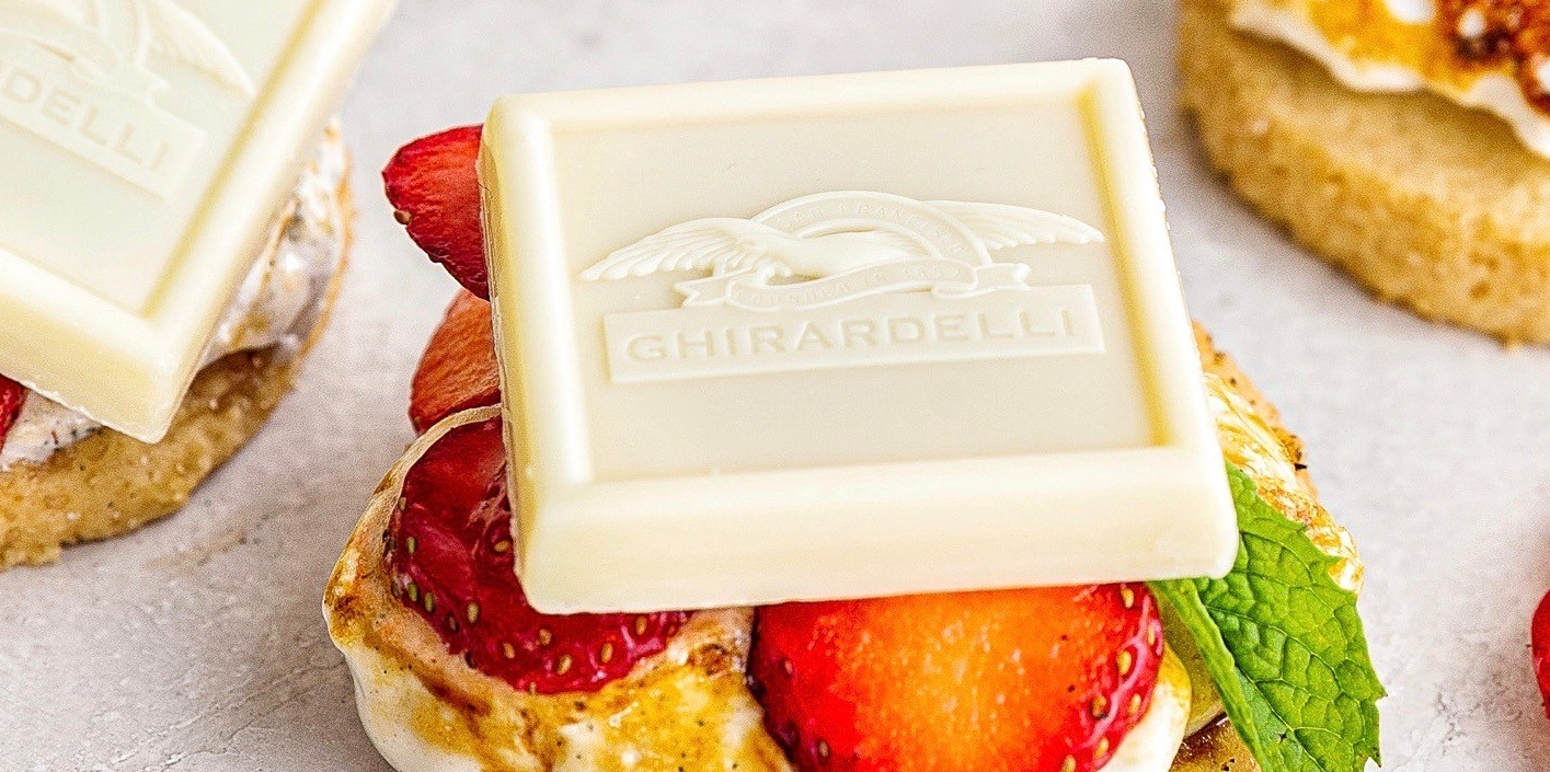 Image for Strawberry Shortcake Style S'mores with White Chocolate Caramel from Ghirardelli
