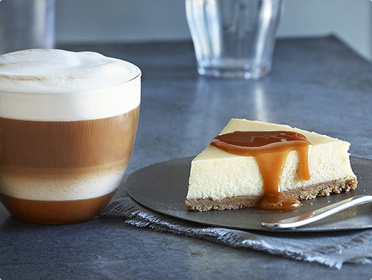 Pic of cheesecake with caramel sauce