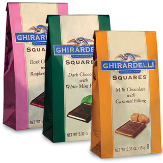 Ghirardelli SQUARES stand up bags
