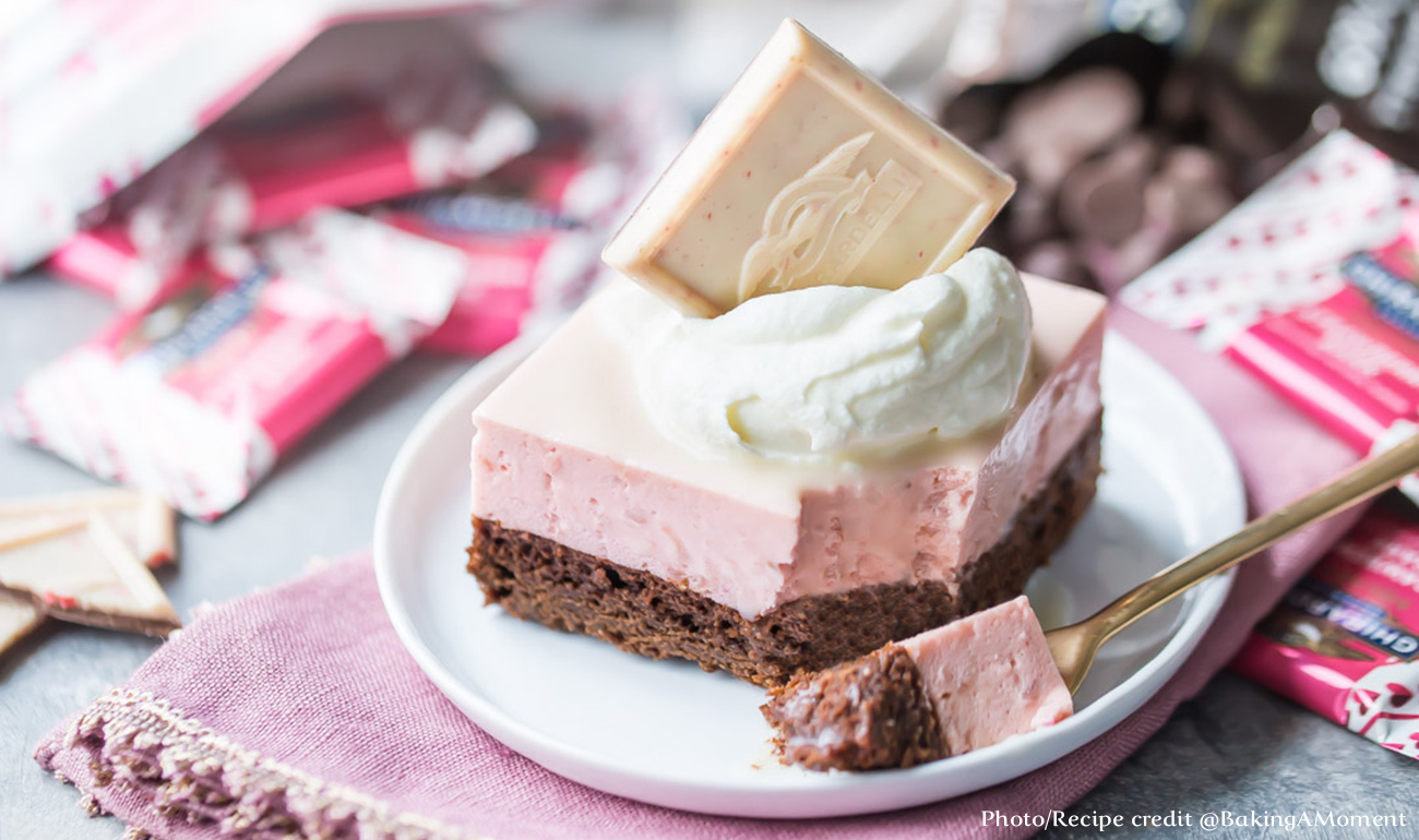 Strawberry Mousse Cake with Ghirardelli Square