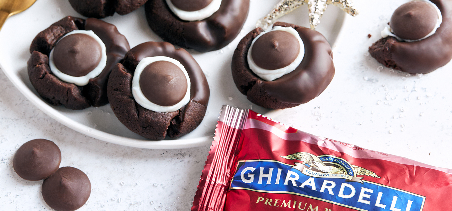Image for Peppermint Chocolate Thumbprint Cookies from Ghirardelli