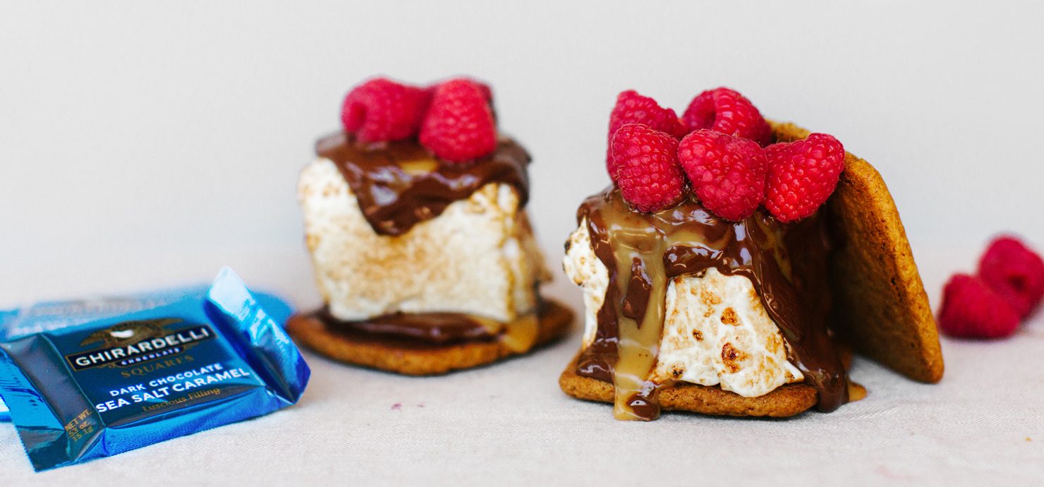 Image for Dark Chocolate Sea Salt S'more with Raspberries from Ghirardelli