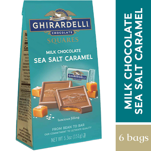 Milk Chocolate Sea Salt Caramel SQUARES Medium Bags (Case of 6)