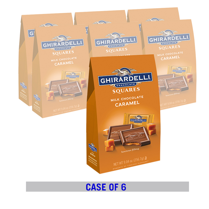 Milk Chocolate Caramel SQUARES Large Stand Up Bag Case Pack