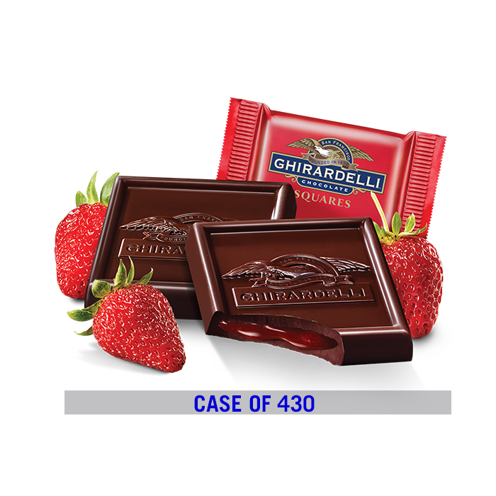 Image for Dark Chocolate Strawberry Square Case Pack (430 ct.) from Ghirardelli