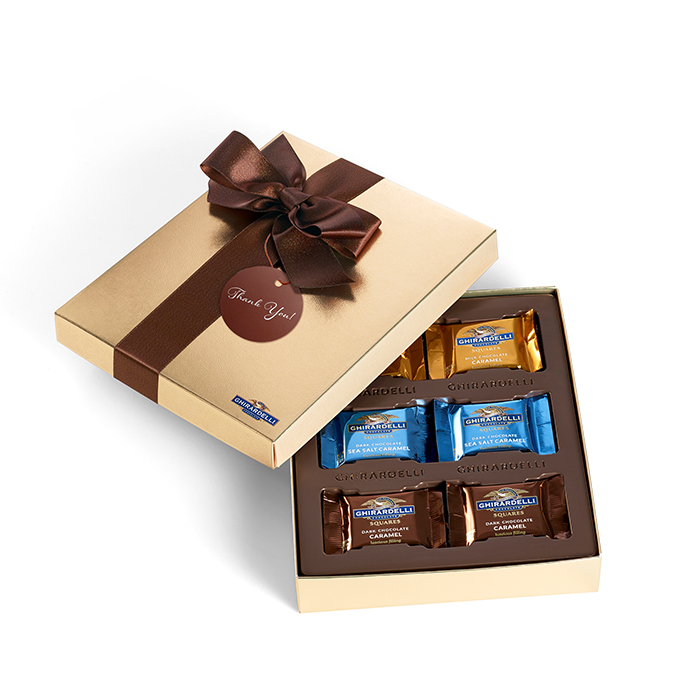 Chocolate & Caramel Gift Box with Thank You Tag (18 pc)