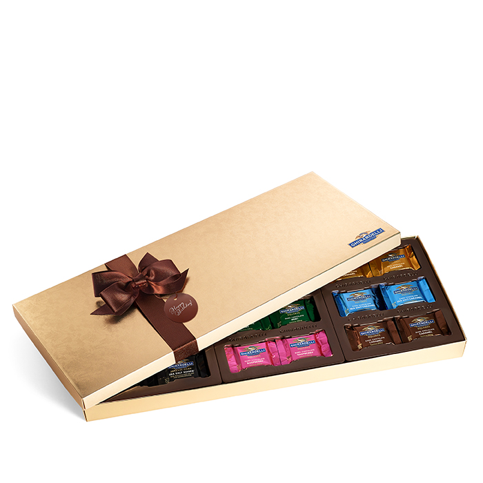 Chocolate Lovers Assortment Gift Box with Happy Birthday Tag (54 pc)