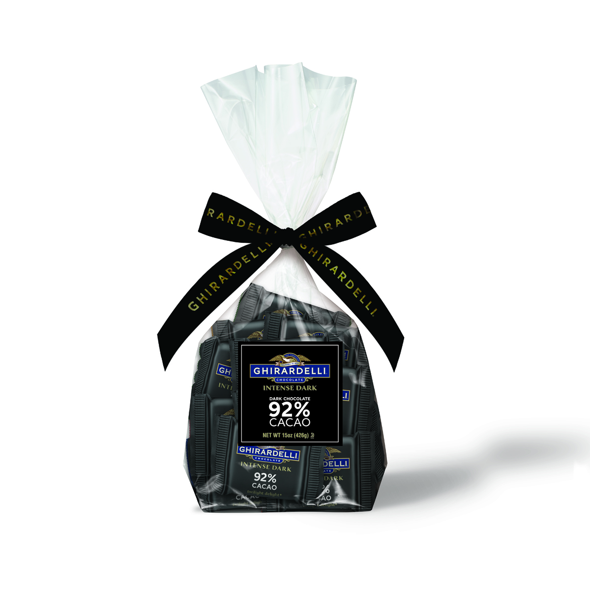 Intense Dark 92% Chocolate Squares Gift bag (40 pc)