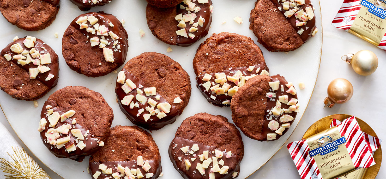 Image for Ghirardelli Double Chocolate Shortbread Cookie with Peppermint Bark from Ghirardelli