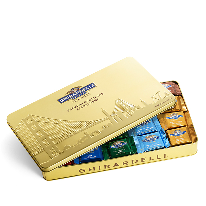 Image for San Francisco Extra Large Tin with Assorted SQUARES (100 pc) from Ghirardelli