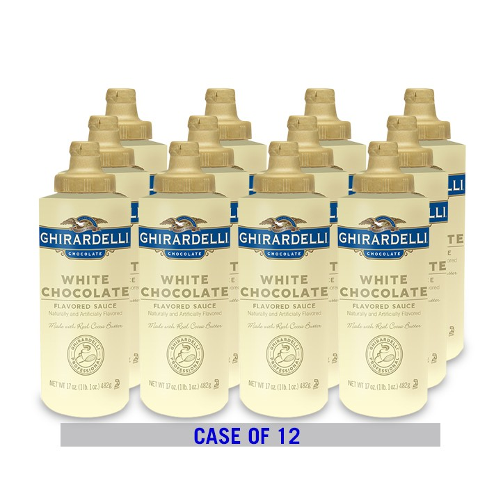 White Flavored Chocolate Sauce Squeeze Bottle Case (12 ct / 17 oz. ea)