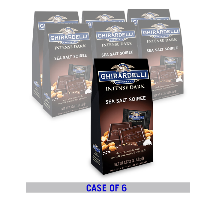 Intense Dark Chocolate Sea Salt Roasted Almond SQUARES Bag Case Pack (6 ct. / 4.12 oz. ea)