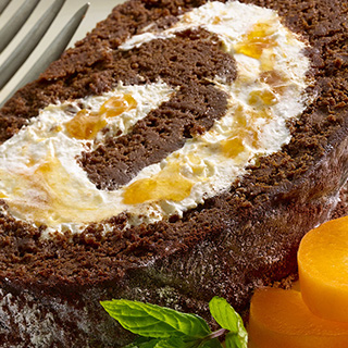 Chocolate Roulade with Apricot Cream