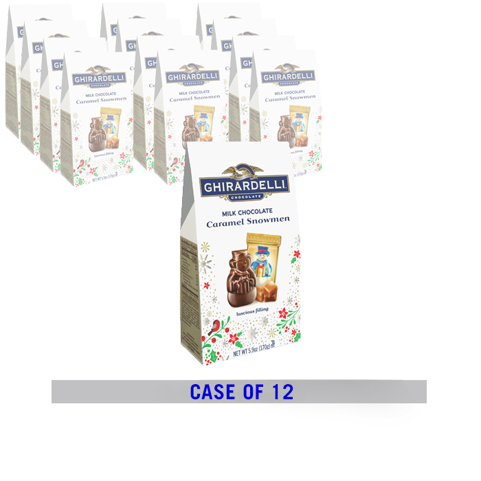Milk Chocolate Caramel Snowmen Medium Gift Bags (Case of 12)