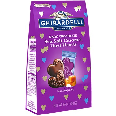 Image for Dark Chocolate Sea Salt Caramel Duet Hearts Large Bags (Case of 12) from Ghirardelli