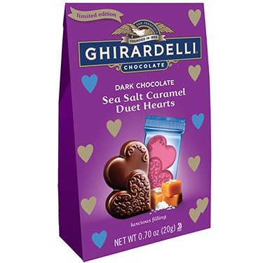 Image for Dark Chocolate Sea Salt Caramel Duet Hearts 2-piece Gift Bag (Case of 24) from Ghirardelli