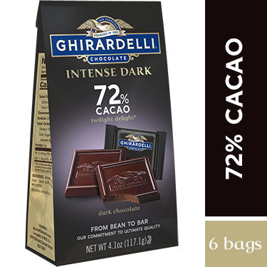 Intense Dark Chocolate 72% Cacao SQUARES Medium Bags (Case of 6)