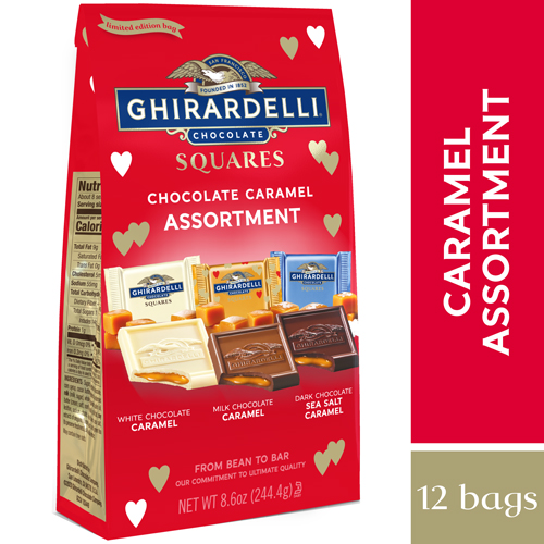 Valentine Chocolate Caramel Trio Assorted Squares Large Bag (Case of 12)