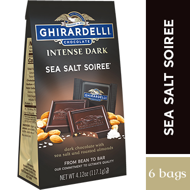 Image for Intense Dark Chocolate Sea Salt Roasted Almond SQUARES Medium Bags (Case of 6) from Ghirardelli