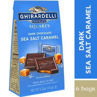 Dark Chocolate Sea Salt Caramel SQUARES Medium Bags (Case of 6)