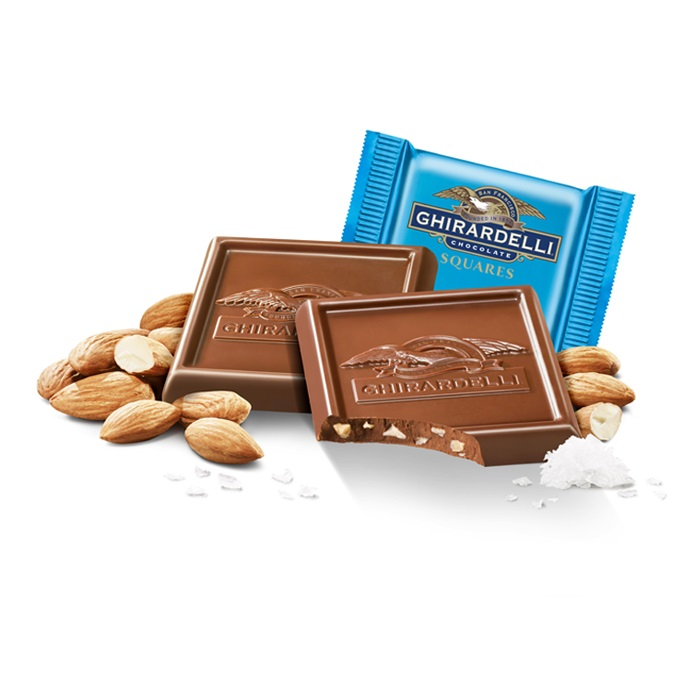 Image for Milk Chocolate Sea Salt Almond SQUARES Case Pack (540 ct) from Ghirardelli