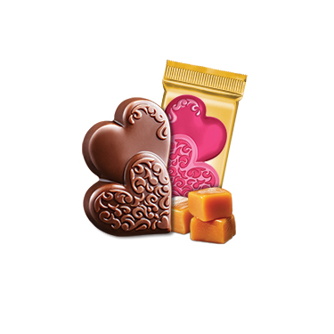 Milk Chocolate Caramel Duet Hearts Case Pack (500 ct)