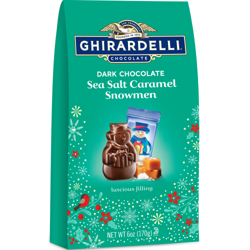 Image for Dark Chocolate Sea Salt Caramel Snowmen Medium Gift Bags (Case of 12) from Ghirardelli