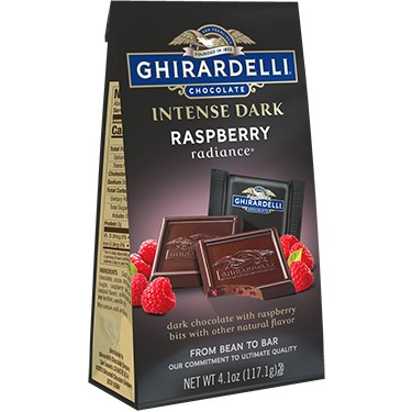 Image for Intense Dark Chocolate Raspberry Radiance SQUARES Medium Bags (Case of 6) from Ghirardelli