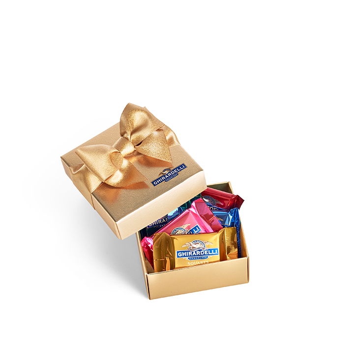 Ghirardelli Chocolate Favor Gift Box with Holiday Ribbon, 5 pc
